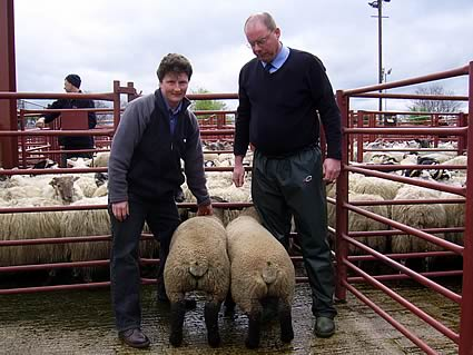 1st prize pair of lambs along with owner Hazel Martindale  and judge Andrew Dawson